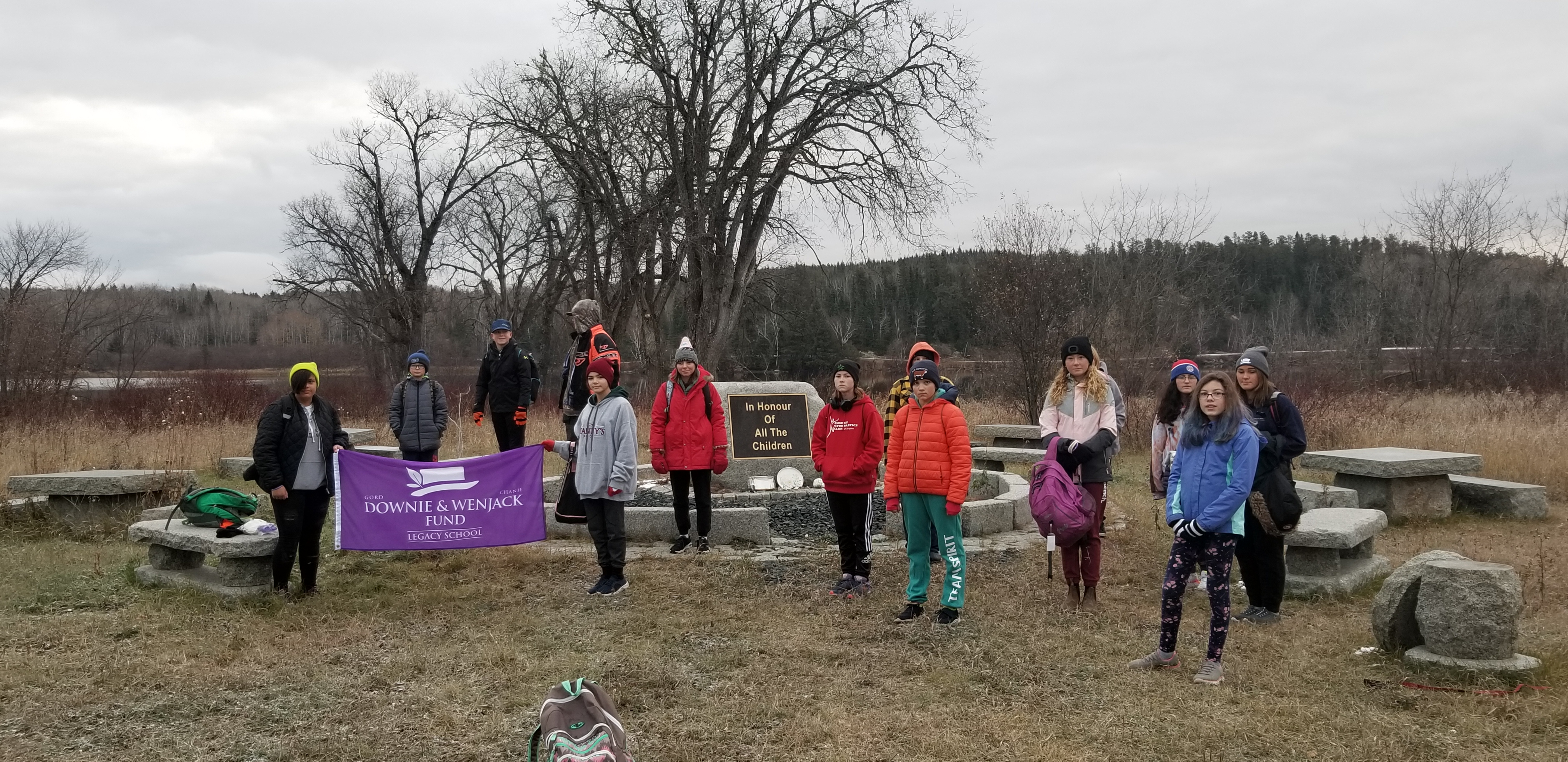 Lilian Berg students at the McIntosh Residential School Memorial Site