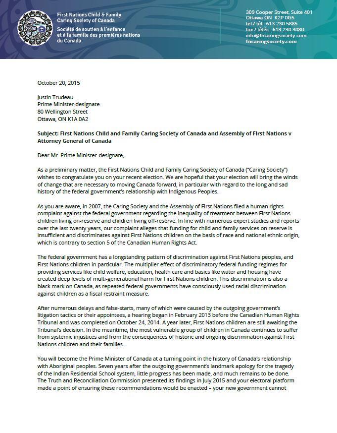 Cindy Blackstock letter to Prime Minister-designate Justin Trudeau