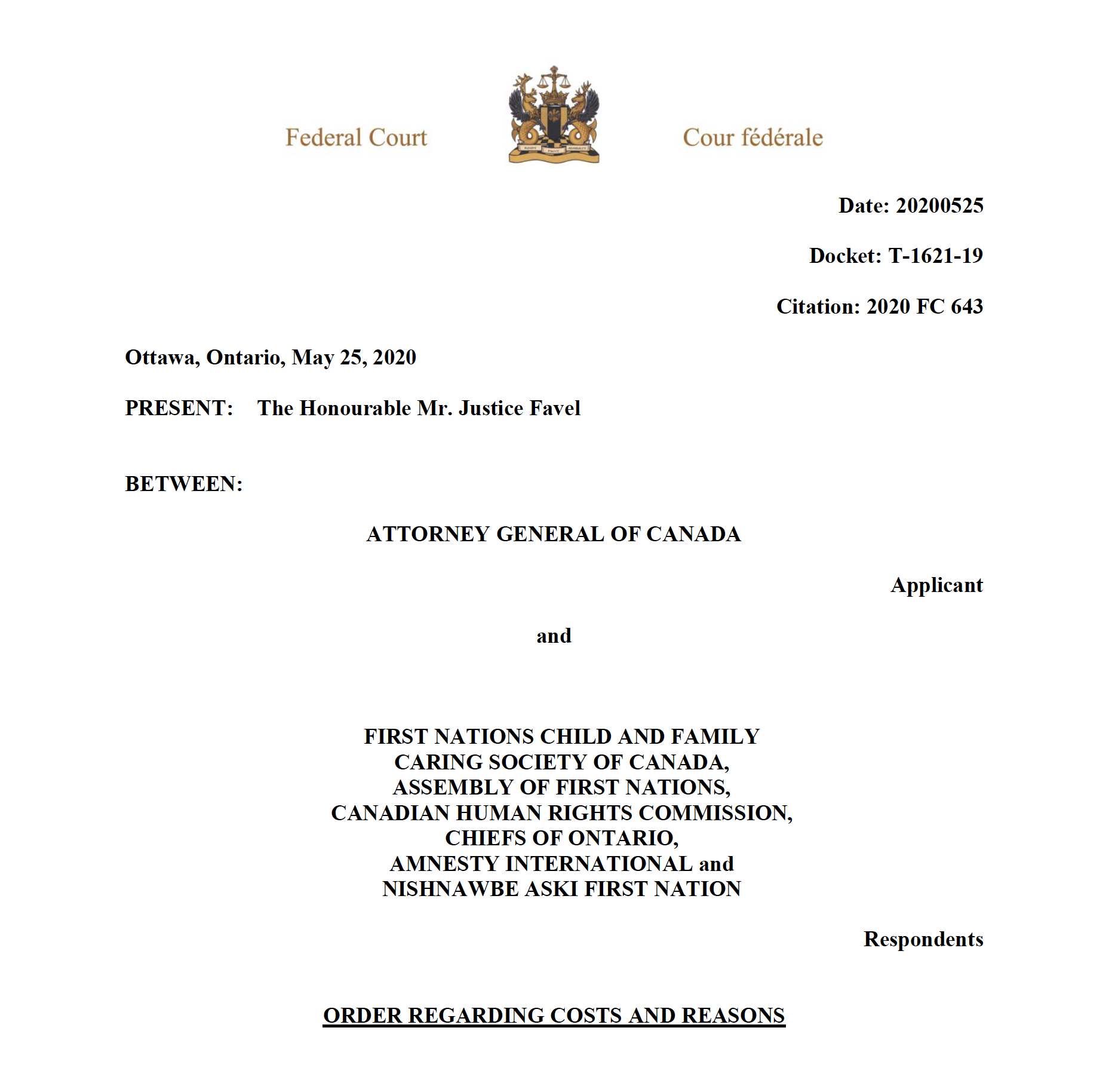 Federal Court Order May 25, 2020