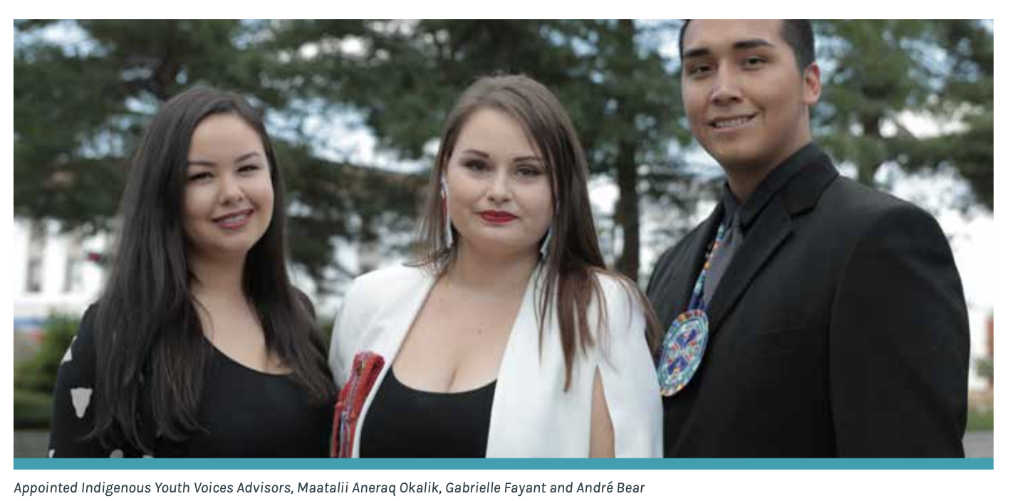 Appointed Indigenous Youth Voices Advisors, Maatalii Aneraq Okalik, Gabrielle Fayant and André Bear