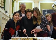 Kids celebrate the Tribunal victory