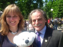 Jennifer Henry and Ed Bianchi from KAIROS with Spirit Bear at Honouring Memories, Planting Dreams (June 3, 2015)