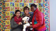 Cindy and Spirit Bear with Htet Htet and Riya of the Nobel Women's Initiative (September 24, 2015)