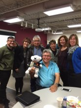 Spirit Bear at the Caring Society AGM! Left to right: Derek Montour, Cindy Blackstock, Derald Dubois, Teresa Steinhauer, Andrea Auger, and Marilyn Lefrank. Front row: Raymond Shingoose and Spirit Bear! (Oct. 22, 2015)