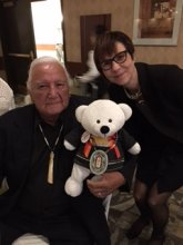 Elder Courchene, Spirit Bear and Cindy at the First Nations Child Welfare Gala (Oct. 22, 2015)