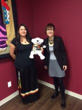Rainbow and Cindy strike a pose with Spirit Bear (Oct. 22, 2015)