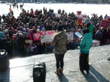 Children sharing their letters, songs and messages of hope and justice on Parliament Hill.