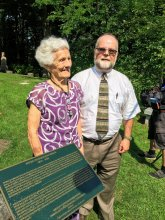 Ellie Bryce and Andy Bryce at the P.H. Bryce Plaque in 2015