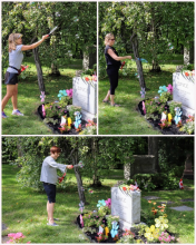Sprucing up the garden at P.H. Bryce headstone in 2019